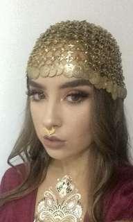 Gold coin head piece