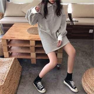 ulzzang Stripe Long sleeve Slouchy shift dress