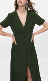 Zara green linen button dress