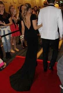 Plunge back black formal dress