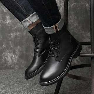 🚚 Black Leather Boots Winter or Summer Large Size 50