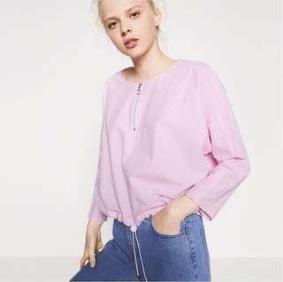 Zara pink pinstriped loose gartered top