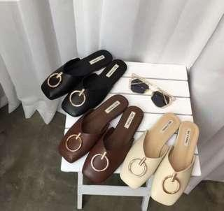 [PO] Gold Ring Square Toed Leather Slip Ons / Mules