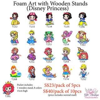 Foam Art with Wooden Stands - Disney Princess