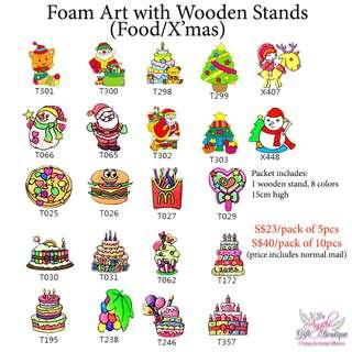 Foam Art with Wooden Stands - X'Mas Theme