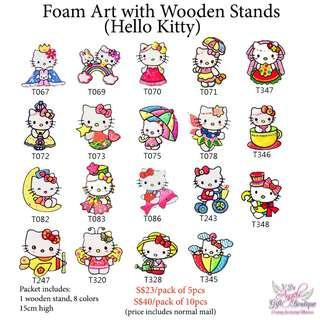 Foam Art with Wooden Stands - Hello Kitty
