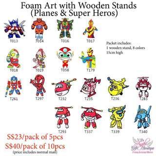 Foam Art with Wooden Stands - Planes & Super Heros