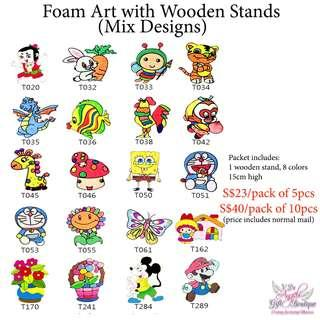 Foam Art with Wooden Stands - Mix Designs