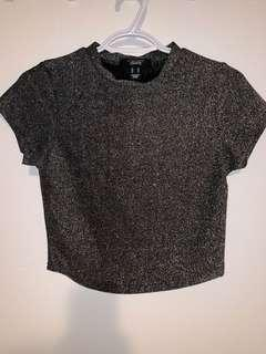 Black and silver glitter crop top - size M
