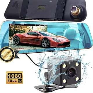 Premium Car Mirror 4.3 inch LCD Front & Rear Camera - New, Complete Set