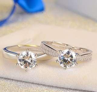 New diamond ring female six-claw single diamond ring jewelry