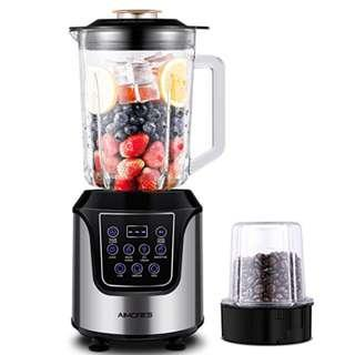 P8 Aimores Commercial Blender for Shakes and Smoothies, Food Processor, 4-in-1 High Speed Programmed Juice Blender, with 52oz Glass Jug, Grinding Cup for Beans, 6 Blades, Tamper & Recipe, ETL/FDA(Silver)