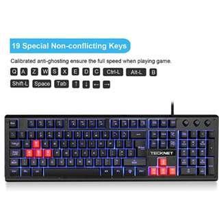 d1a9286617d Gaming Keyboard TeckNet 105 keys 3 Color LED Backlit Mechanical Feeling USB  Wired Gaming Keyboard,