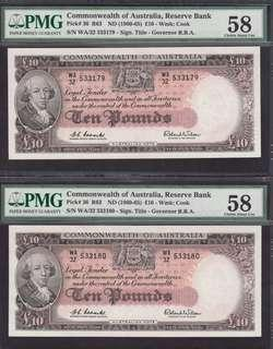 A pair of Commonwealth of Australia 1960 10 Pounds PMG 58 Choice Abt UNC Rare