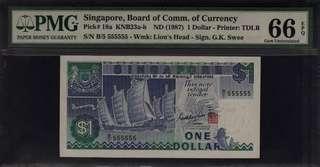 Super Solid B/5 555555 Singapore Ship $1 PMG 66 Gem UNC EPQ Rare