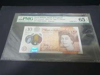 Solid 555555 England 2016 £10 PMG 65 GEM UNC EPQ