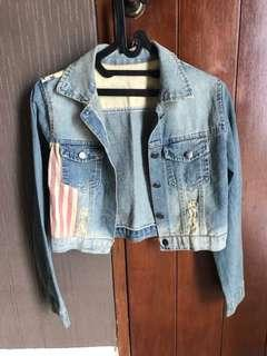 VINTAGE DENIM JACKET USA FLAG