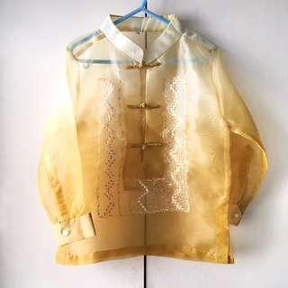 Boys' Yellow / Gold / White Chinese Collar Barong - National Costume (Size 6)