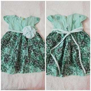 Turquoise Floral Girl Dress
