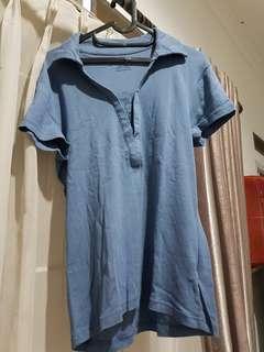 Polo shirt cantik navy blue biru bahan cotton lembut mulus adem