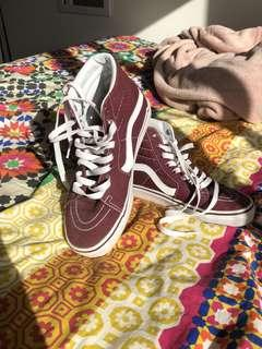 Maroon high top vans