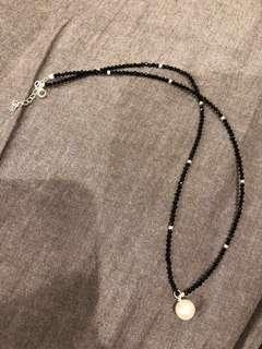 黑尖晶珍珠吊坠项链 (silver colour) black spinel
