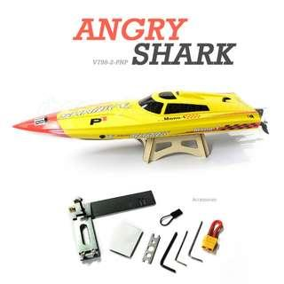 VOLANTEX [Up to 88km/h] ANGRY SHARK (Vector PRO) 80cm Auto Roll-Back Function, High speed ABS Unibody Boats Brushless Electric Speed Boat, Plug and Play, PNP. Code: V798-2-PNP