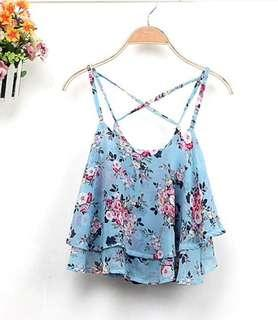 Cross shoulder sleeveless floral  sexy Top