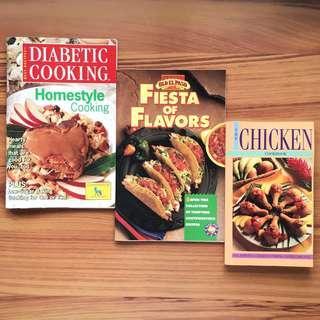 [Set] Cookbooks - Diabetic Cooking, Fiesta of Flavors, The Chicken Cookbook