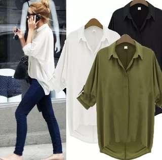 White Long Sleeve Buttoned Blouse