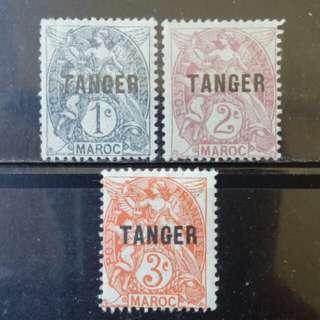 [lapyip1230] 法屬摩洛哥-國際區加蓋票 1900年 TANIGER 新票 Mint