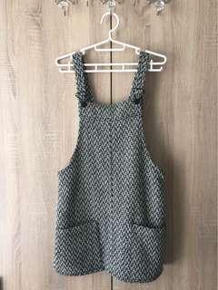 🚚 ::Mango::黑米白毛呢編織Chanel風口袋吊帶裙