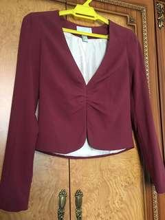 H&M Maroon Pleated Closure Cropped Blazer/Jacket/Top