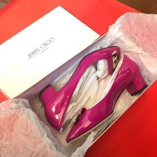 NEW Jimmy Choo Patent Leather Iris Low Block Heels in Jazzberry