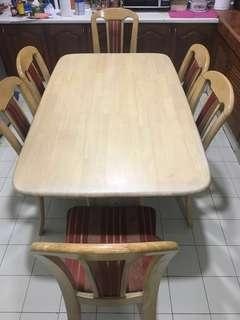 Solid Wood 6 Seater Dining Table (Meja Makan)