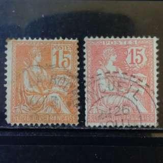 [lapyip1230] 法國 1899年 拾伍仙 自由女神(不同版别) 舊票 VFU