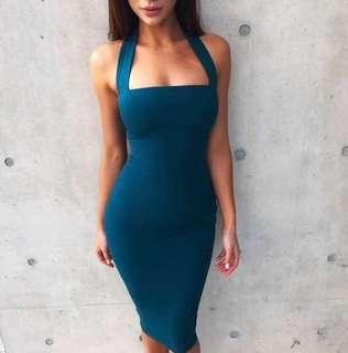 🚚 Deep Teal Blue Bandage Party Dress