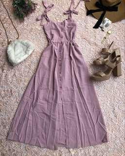 Pink Button Down Midi Dress