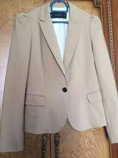 Zara Camel Coloured Pleated shoulder Blazer/Jacket/Top