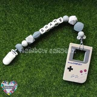 Handmade Customized Pacifier Clip + Grey Gameboy Teether with letter beads