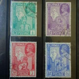 [lapyip1230] 英屬緬甸 1946年 二次大戰和平 舊票全套 Set Used
