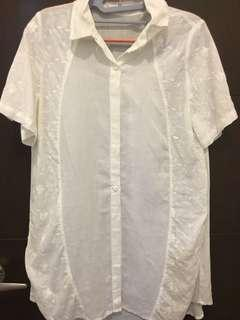 Herz white embroidery blouse