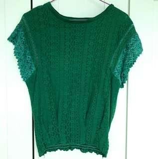 Made in Korea 綠色lace top