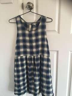 FOREVER 21 checker dress: black/white/blue