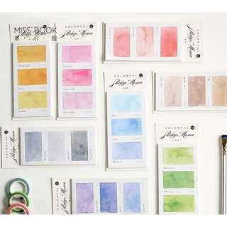 [PO] 3 rectangles watercolor post it note sticky note