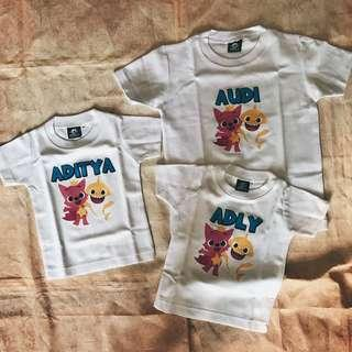 baby shark t-shirt romper with names