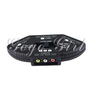 3 In 1 Port AV Audio Video Composite RCA Selector Box Switch Splitter W/Cable