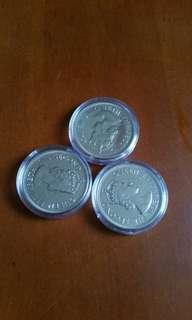 香港:硬幣:全部1974年 :大1元:女皇頭:共3個