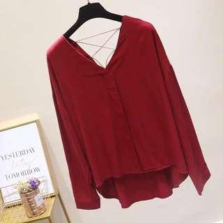 酒紅V領上衣 襯衫 韓風 女 red shirt