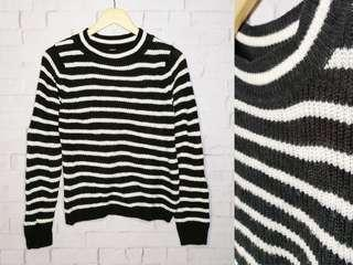 Black and White Striped Knitted Sweater